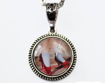 Red glass slippers etsy wizard of oz dorothys red ruby slipper shoes antique silver cabochon glass dome pendant necklace aloadofball Choice Image