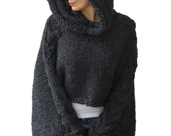 Plus Size Knitting Sweater Capalet with Hoodie - Over Size Dark Gray Cable Knit by Afra