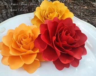 Paper Flowers - Wedding Decorations - Large Handmade Roses - Set of 12 - Custom Made - Firebird