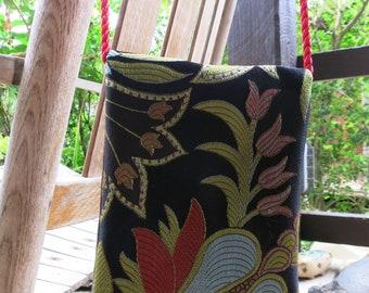 Black Croc & Tapestry Crossbody Petite Purse