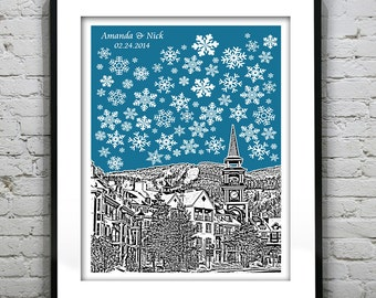 Mont Tremblant Wedding Guest Book Guestbook Poster Print - City Skyline Quebec Canada