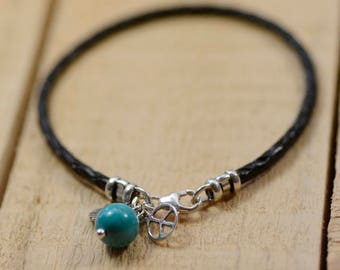Hamsa Hand of Peace Turquoise Bracelet with Peace Sign and Hamsa in 925 Sterling Silver on Braided Leather