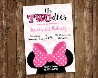 Mouse Birthday Party Invitation, TWOdles, 2nd Birthday, Pink - Digital or Printed