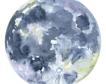 Full Moon Watercolor Painting - 11 x 14 - Giclee Print - Space Universe Art