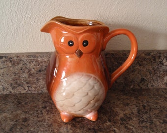 """Owl Pitcher Ceramic Cute as Can Be 8"""" High Kitchen Home and Living décor Kitchen and Dining a2312"""