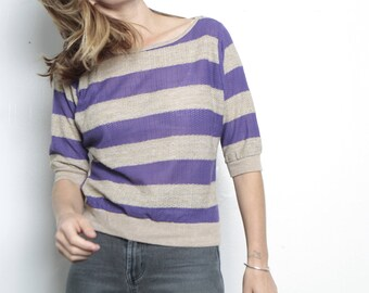 purple & tan 90s striped OXFORD soft SPRING t shirt sweater top