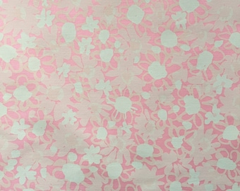 Vintage 70s Pink and White Tina by Zuzek Key West Handprint Fabric 2.5 Yards
