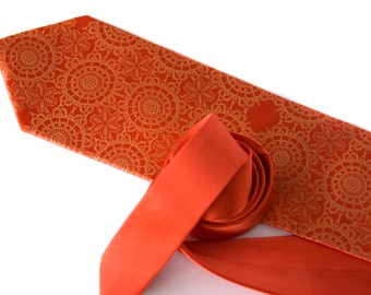 Cottage Lace, coral orange silk necktie. Tangerine Tango silkscreen men's tie.
