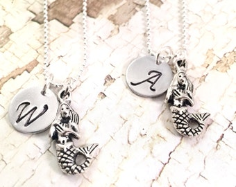Best Friends Necklace, mermaid necklace, charm necklace, personalized mermaid necklace, best friends gift,  BFF gift,