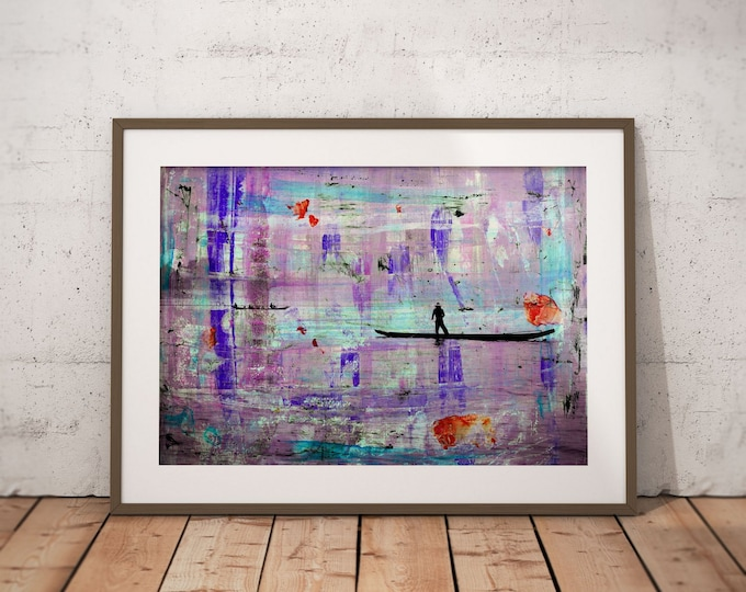 Waterworld V by Sven Pfrommer - Artwork is ready to hang with a solid wooden frame