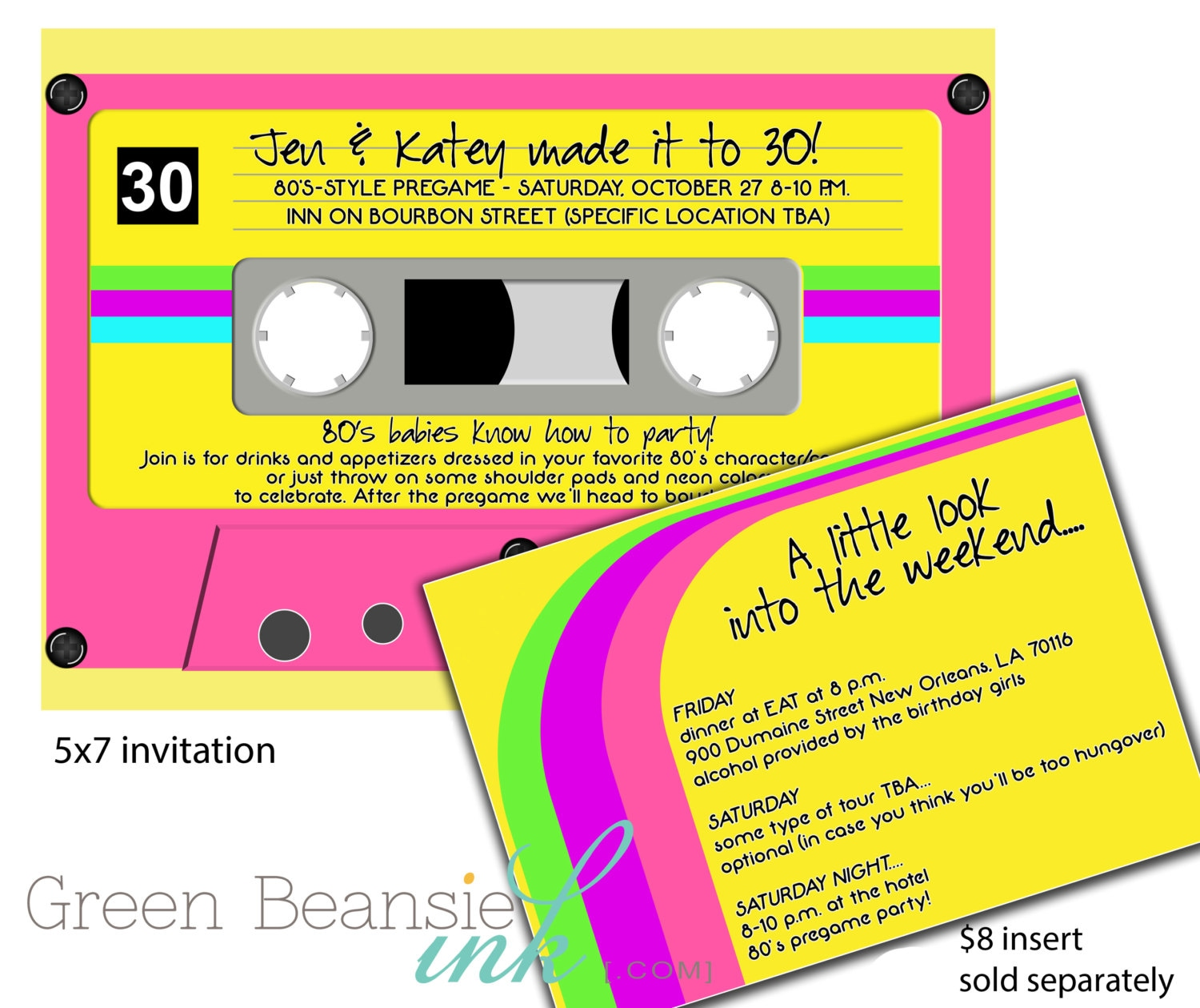 80s or 90s CASSETTE TAPE Printable Party Invitation