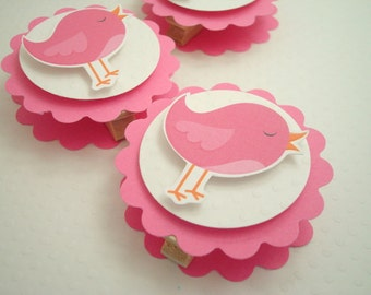 Pink Birdie Favor Bag Toppers, Set of Ten
