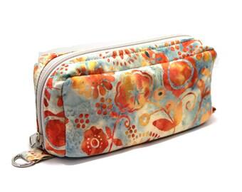 Essential Oil Case Holds 10 Bottles Essential Oil Bag Orange and Blue Floral Batik