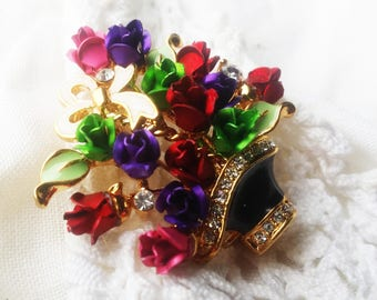Elegant Bouquet of Flowers Floral Enamel and Rhinestone Crystal Glass Brooch - 1990s - Exquisite Design - Special Occasion - Vintage