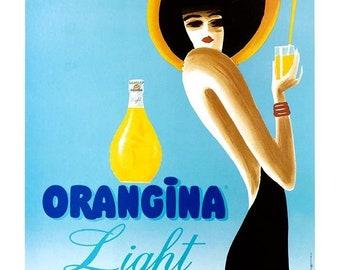 Orangina Light Villemot 16 X 24 Inches on linen Vintage poster excellent