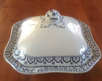 """Wood and Sons BERKLEY Blue and White Transferware 10"""" Square Covered Vegetable Serving Dish - Woods Ware"""