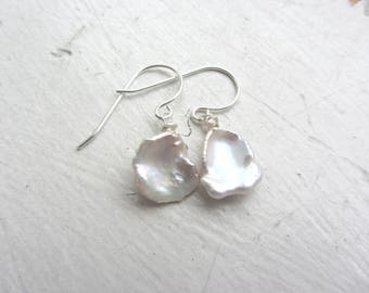 Keshi Pearl Earrings, Sterling silver pearl earrings, bridal earrings, white earrings, wedding day earrings