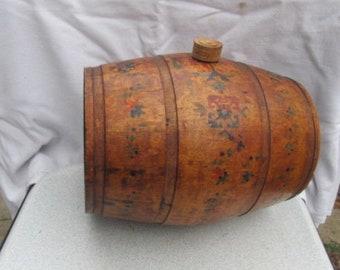 Old vintage wooden hand carved painted keg flask barrel