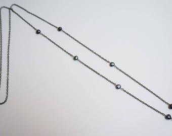 Necklace chain and grey imitation pearl beads