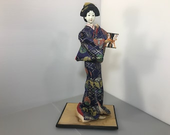 Rare Japanese doll Geisha doll Vintage kimono handmade doll 1950s Antique Unique Rare geisha doll Unique kimono doll made in Japan (#224)
