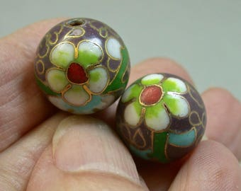 Vintage Chinese CLOISONNE Purple Beads White Flowers 15mm pkg2 clo108