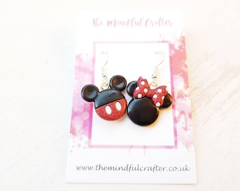 Disney Mickey mouse earrings minnie mouse earrings disney jewellery mickey dangle earrings mickey Jewelry minnie jewelry Disney earrings