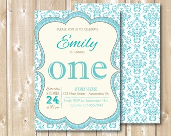 Birthday Party Invitation. Printable Party invitation. Teal Birthday invite. Teal blue invite. Turquoise invite