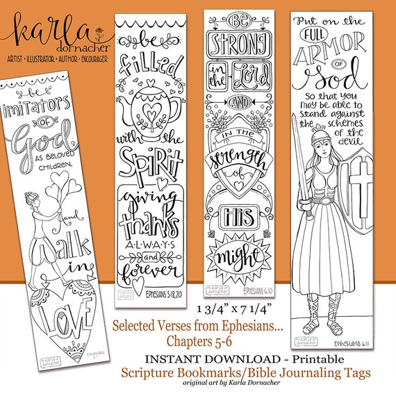 Ephesians 5-6 Color Your Own Bookmarks Bible Journaling