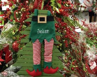 Elf Leg Felt Stockin with Monogram Custom Personalization