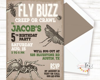 Insect Birthday Invitation, Insect Birthday Party, Invitations for Boys, Bug Out Birthday, Insect Party, Bug Birthday Invitation, PRINTABLE