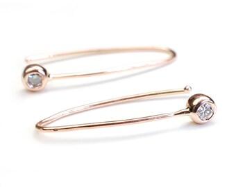 Diamond Drop Earring, Diamond Bar Earring, Rose Gold Earring, Modern Diamond Earring, Minimal Diamond Earring, Gold Diamond Earring, Nixin