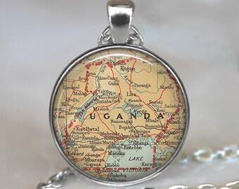 Uganda map pendant, Uganda map necklace resin pendant, adoption jewelry, Uganda pendant, adoption pendant key chain key ring key fob