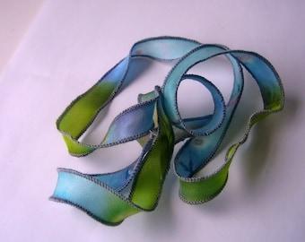 Silk Fairy Ribbons - Wrap Bracelet - Hand Painted, Dyed - blue citrus copper bubbles - Jewelry Making Supply - Wrist Wrap Bracelet