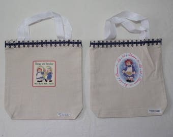 Raggedy Ann Birthday Party Colorful Canvas Treat Bags (set 6)