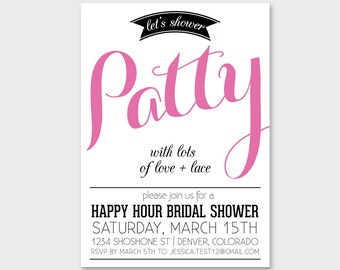 Happy Hour Bridal Shower custom invitation  // lingerie shower invite // lingerie party // digital printable file