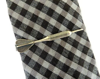 Dart Tie Bar Dart Tie Clip Sterling Silver & Antiqued Brass Finishes Gifts For Men Groomsmen Gifts