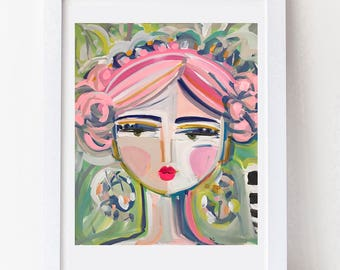 Warrior Girl Print woman art impressionist modern abstract girl paper or canvas Pinky