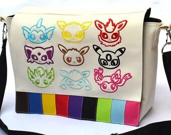 Rainbow eevees messenger bag