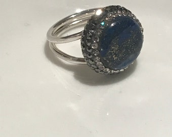 Turkish Handmade, Sterling Silver, Swarovski Crystal, Sax Blue Moon Gemstone Ring