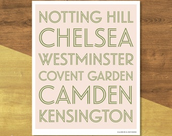 London Neighborhoods Poster | Digital Download