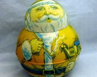 Vintage Bristol Ware Roly Poly Chein Tin Santa Container, 1980s (empty)