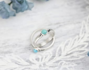 Sterling Silver Turquoise Ring For Women, Genuine Turquoise Ring, Real Turquoise Ring, Floral Ring Floral Jewelry, Botanical Ring, Vine Ring