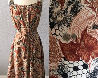 1970's Floral Brown Midi Fit and Flare Vintage Hippie Bohemian Dress