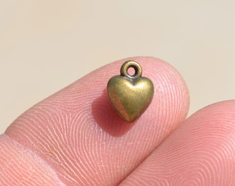 10 Antique Bronze Puffed Mini Heart 9mm Charms BC2071