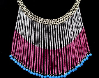 Pink White and Periwinkle Czech Vinatge Bead Bib Runway Necklace