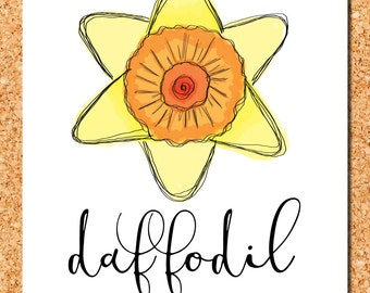 floral wall art: yellow and orange daffodil