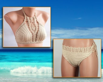 Crochet bikini, BEIGE Swimsuit, Summer trends, LoveKnittings