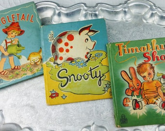 3 Vintage 1940's Children's Books Snooty Timothy's Shoes Wiggle Tail Lithograph Pictures