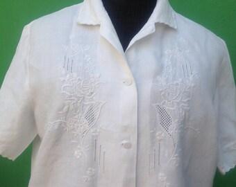 80s Vintage Top | Antique White cotton Blouse | Embroidered Blouse | Vintage Blouse | Embroidered Shirt | Embroidered cotton blouse