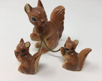 Vintage Ceramic Squirrel and Two Babies Chained